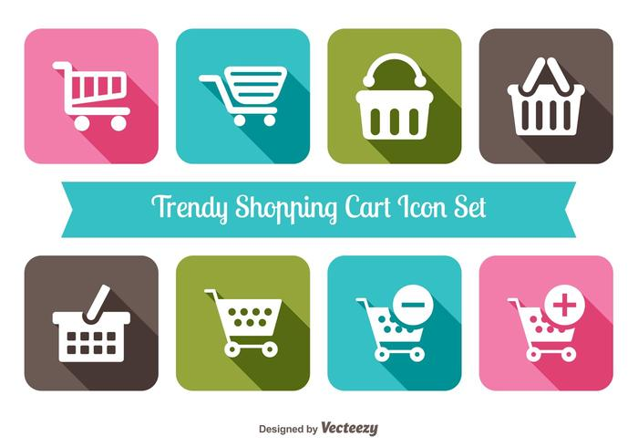 Trendy Shopping Cart Icons Collection