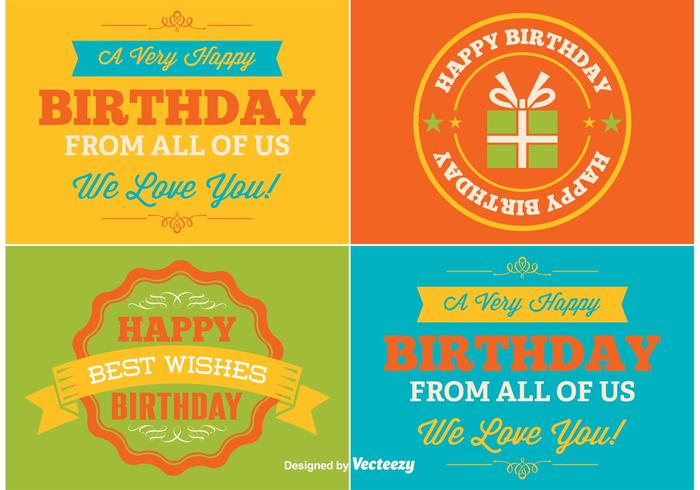 Happy Birthday Vector Labels