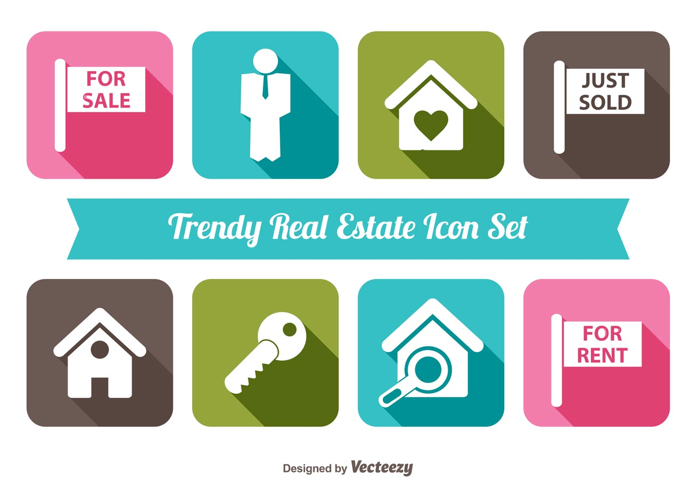 Trendy Real Estate Vector Icon Set - Download Free Vectors ...