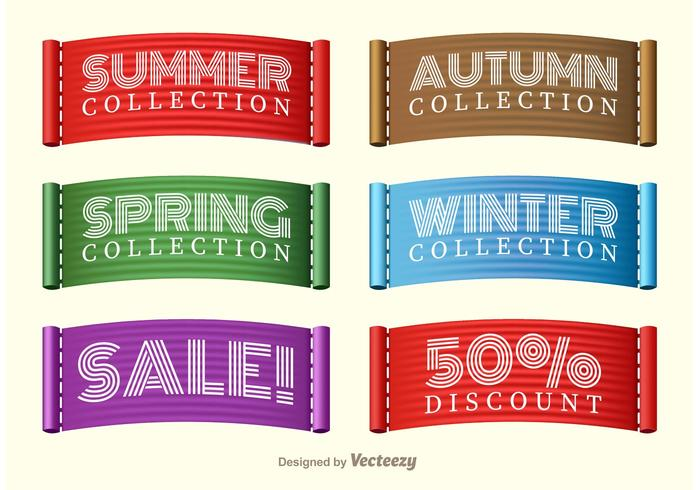 Stitched Season Sale Collection Label Vectors