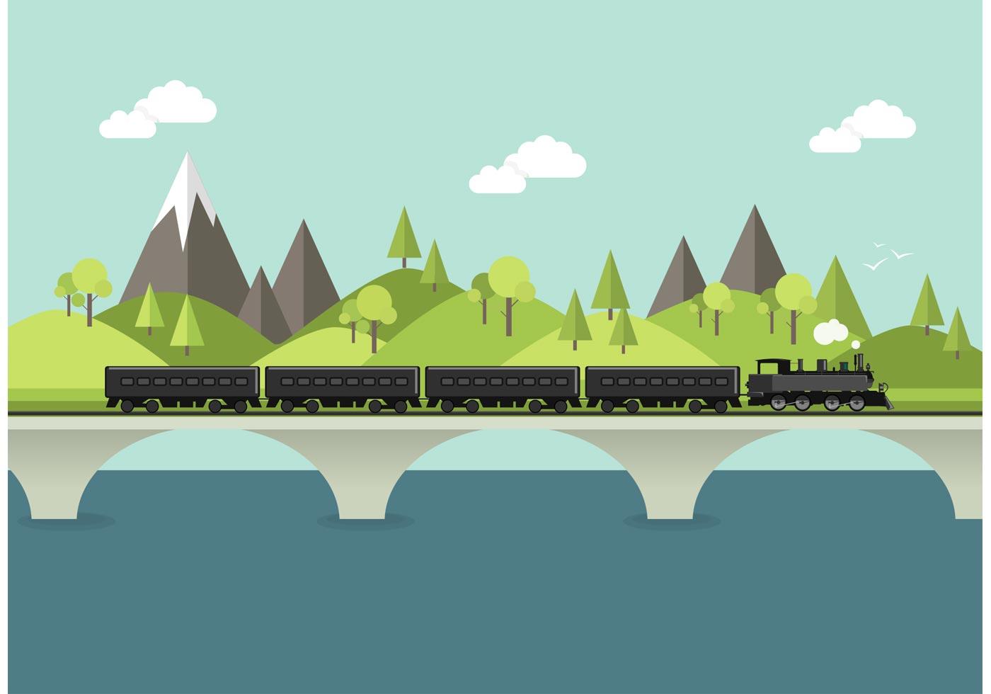 Landscape Illustration Vector Free: Steam Train In Landscape Vector
