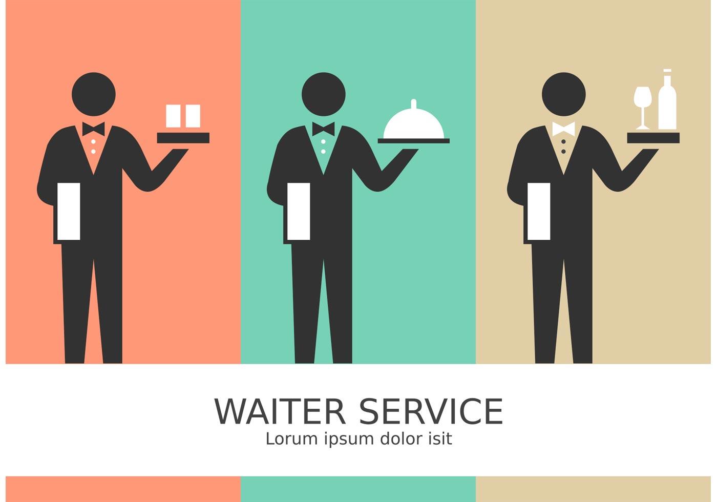 vector waiter service stick figure pictograms