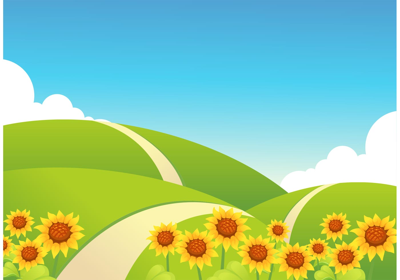 Rolling Hills With Sunflowers Vector Download Free