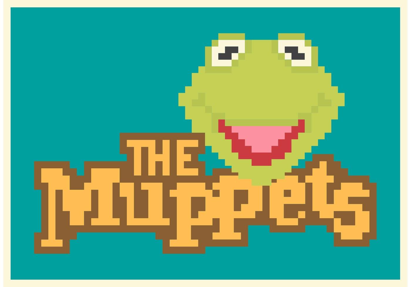 One Line Pixel Art : Free pixel kermit the frog vector poster download