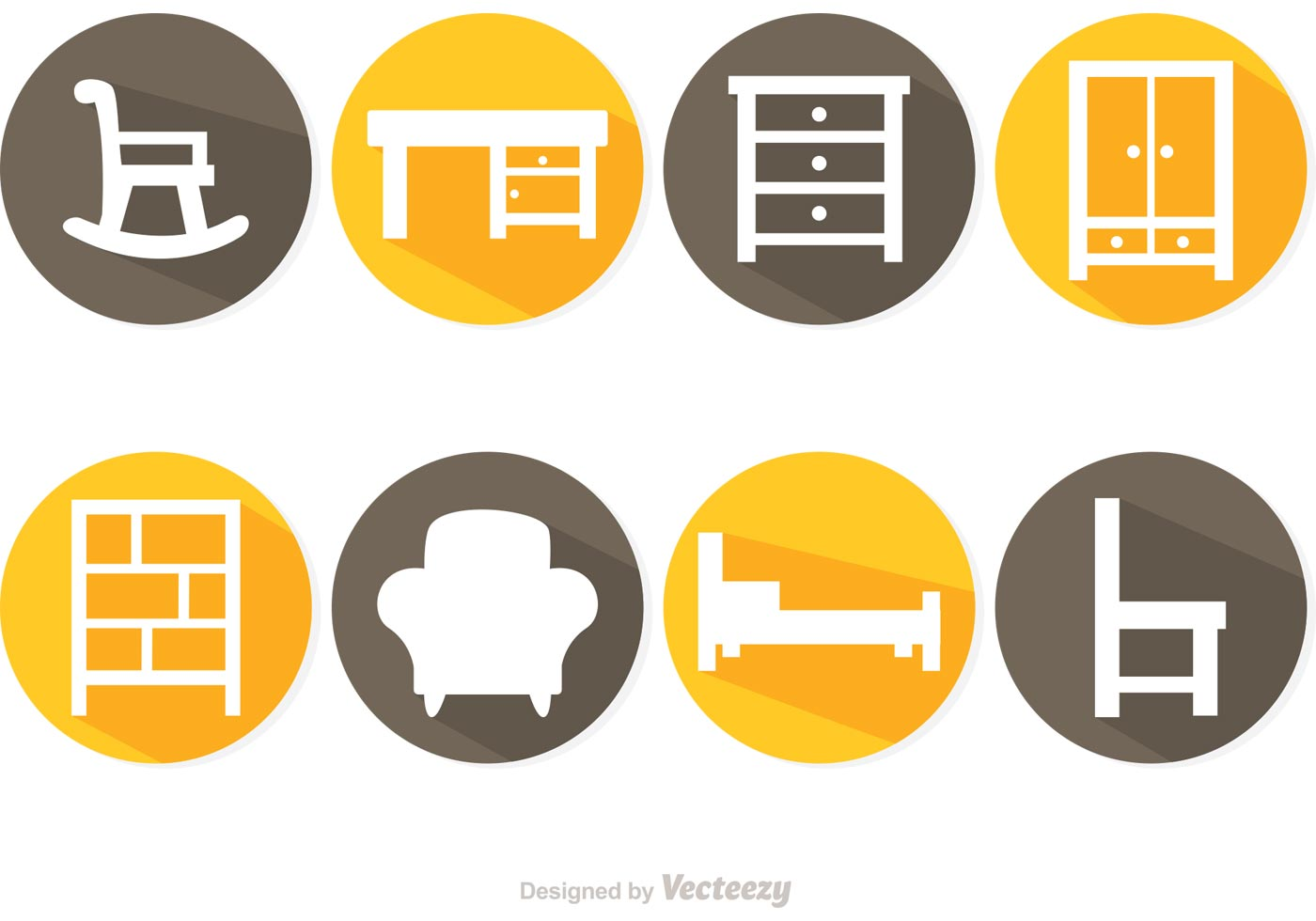 Long Shadow Furniture Vector Icons Download Free Vector