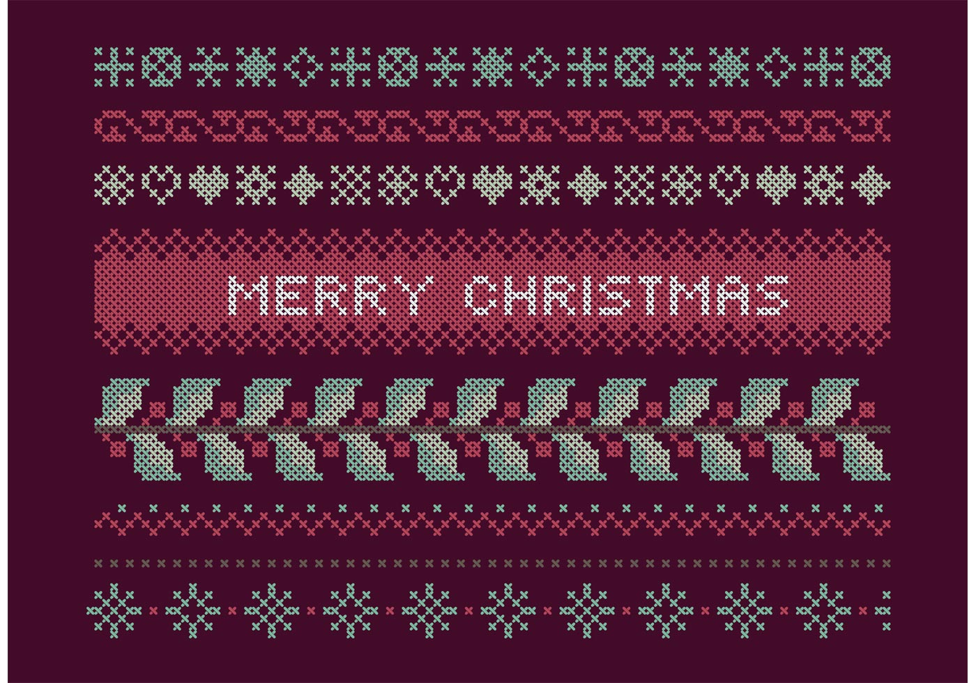 cross stitch christmas set download free vector art