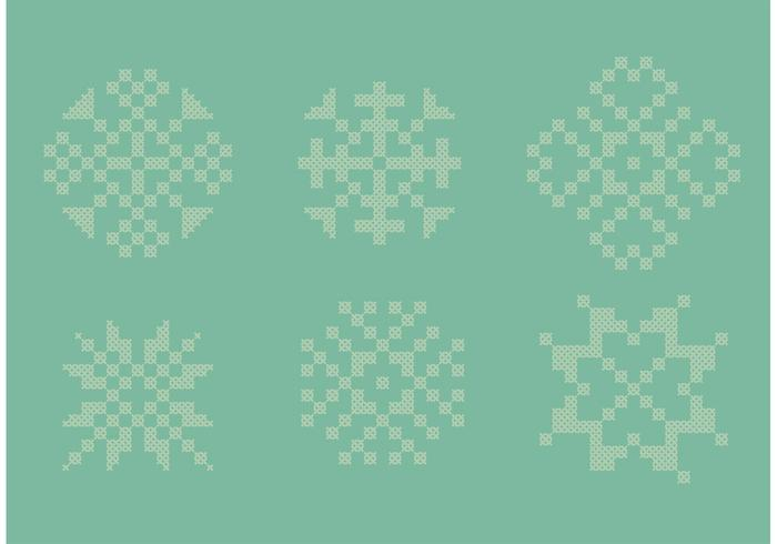 Cross Stitch Snow Flake Set