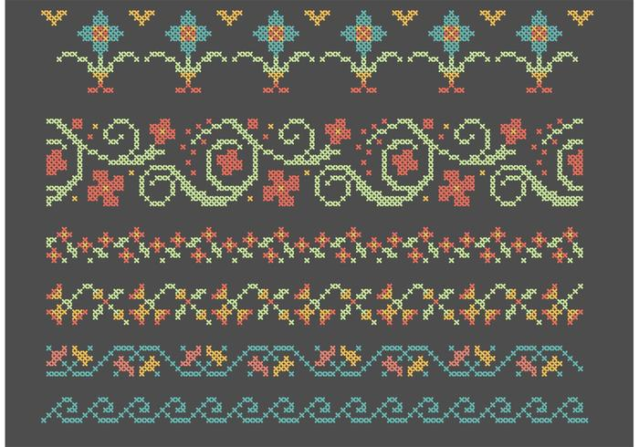 Cross Stitch Flower Border Set Download Free Vector Art