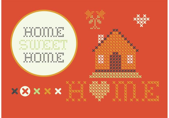 Cross Stitch Home Sweet Home Set vector