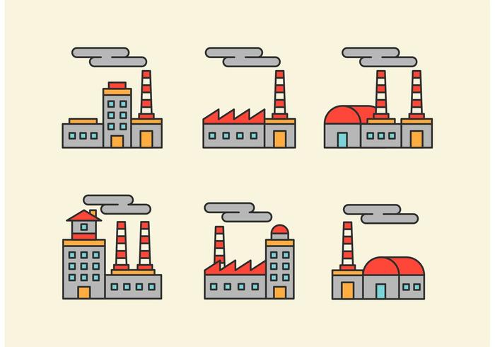 Factory Vector Icons With Outline Style