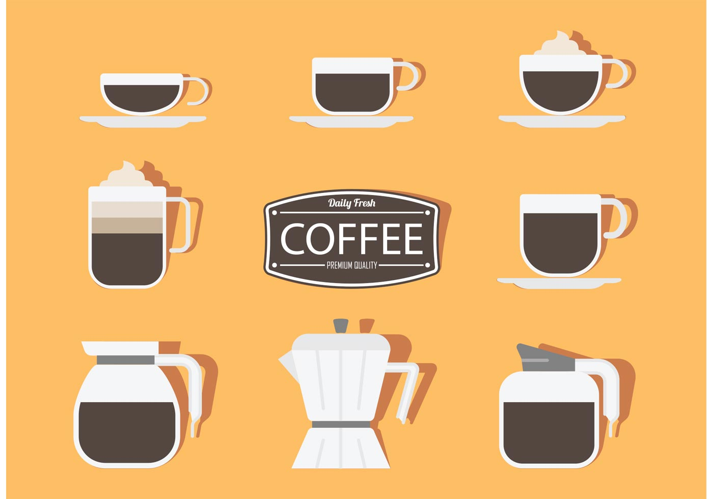 Vector Coffee Stickers - Download Free Vector Art, Stock Graphics & Images