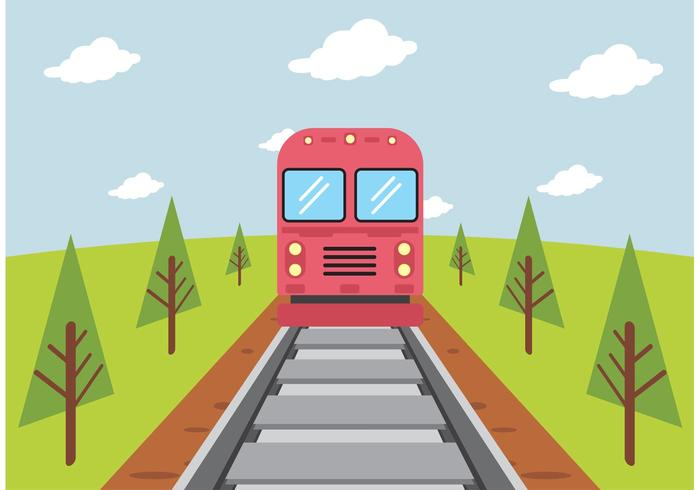Train On Railroad Vector Free