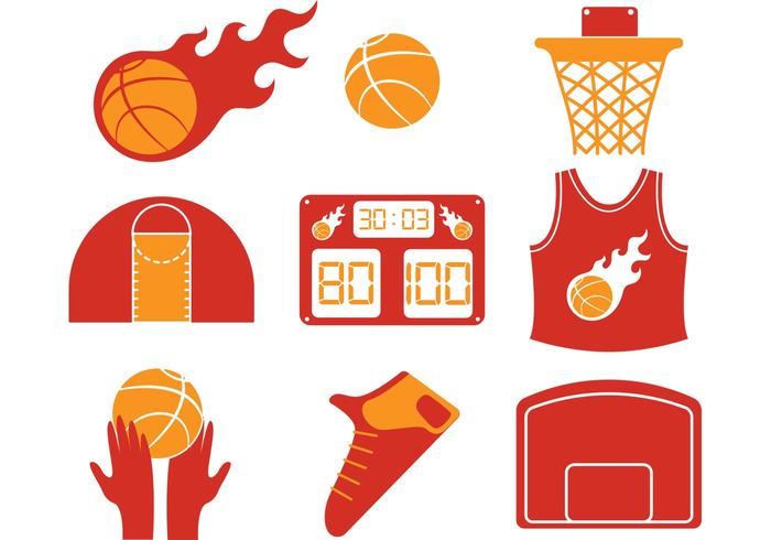 Hot Basketball Vector Iconos