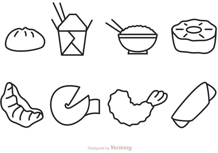 Outline Chinese Food Vector Icons