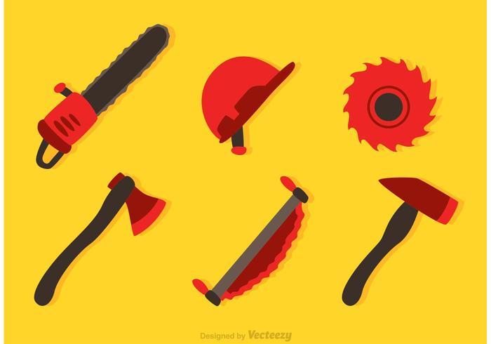 Iconos del vector de la herramienta del leñador