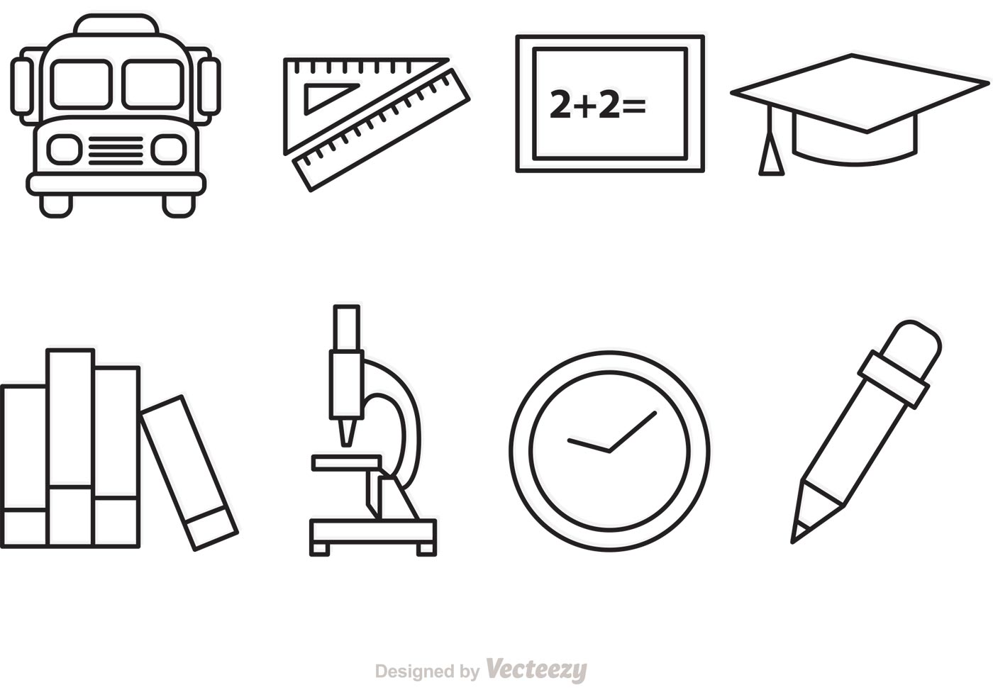 School Outline Vector Icons