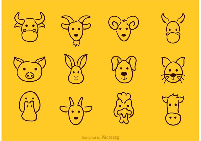 Vector Animal Face Drawing Icons