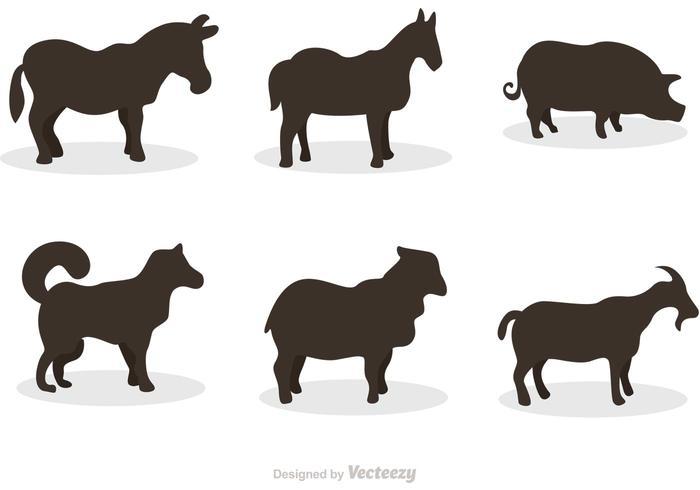 Vetores de silhueta de mamífero