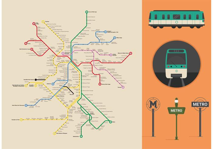 Paris Metro Vector Map