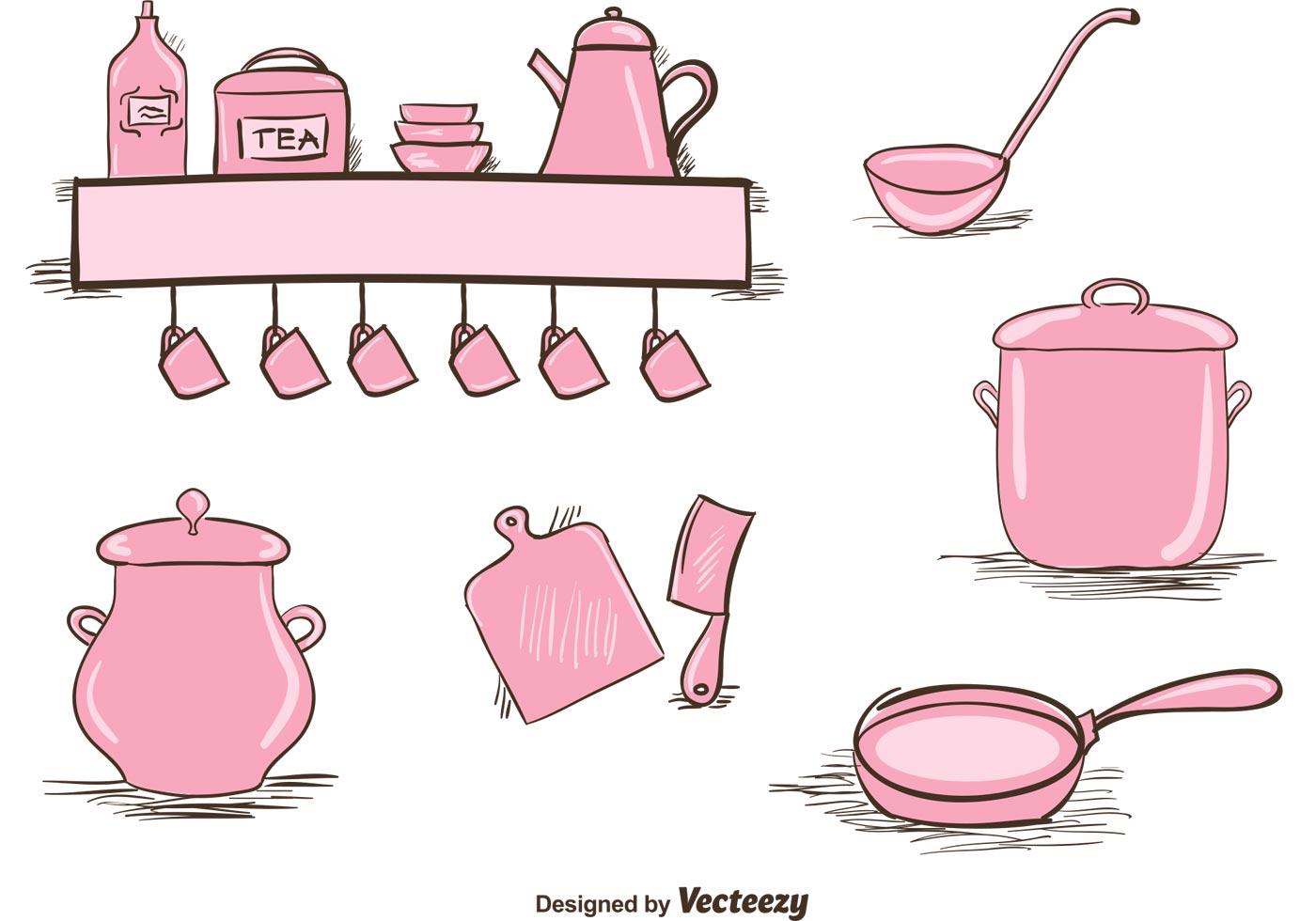 Free vintage kitchen utensils set download free vector for Kitchen set vector