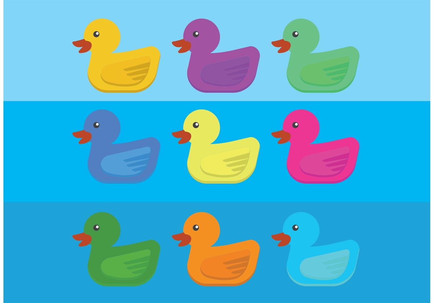 Colorful Rubber Duck Vectors Download Free Vector Art