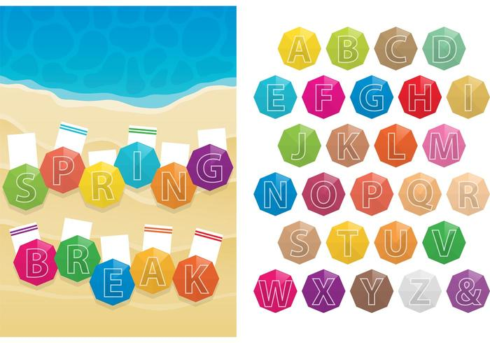 Spring Break Beach Umbrella Vectors