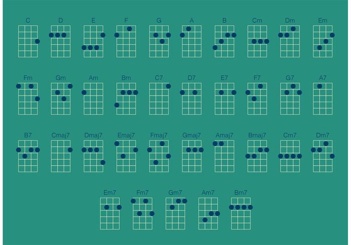 Ukulele Chords Vector Set