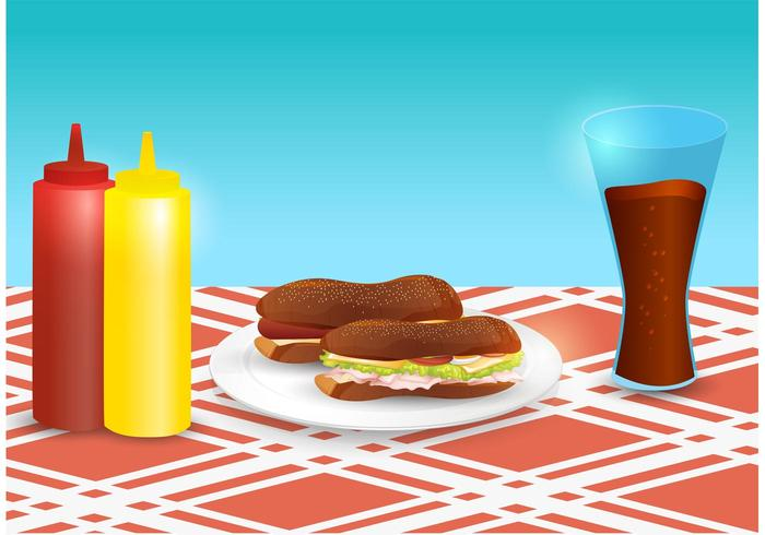 Club Sandwich Vector Scene