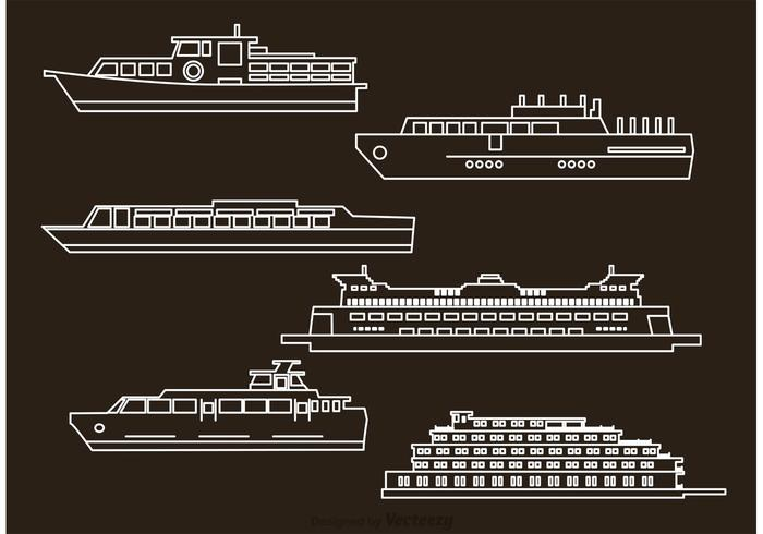 Vector Ship And Boat Outline Icons