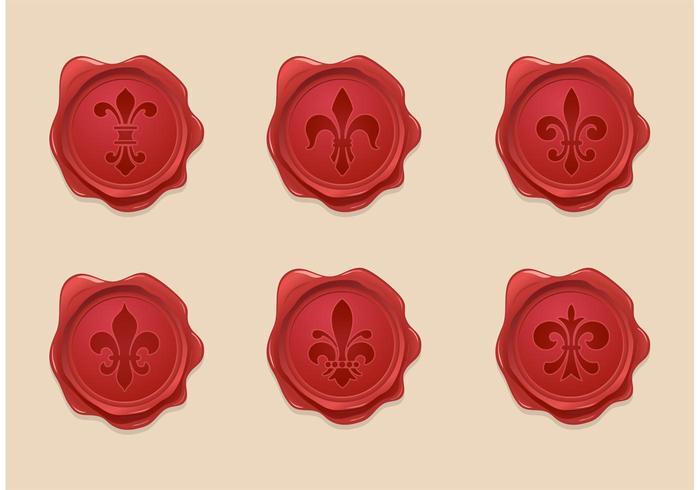 Libre Fleur De Lis Sello De Cera Vector Set