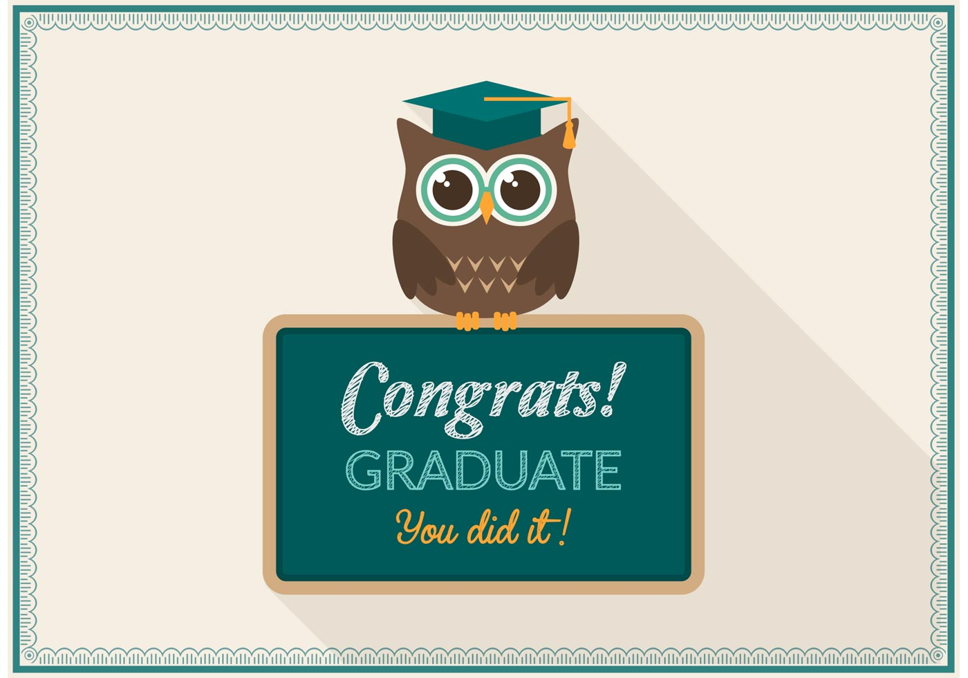 free graduation owl card vector