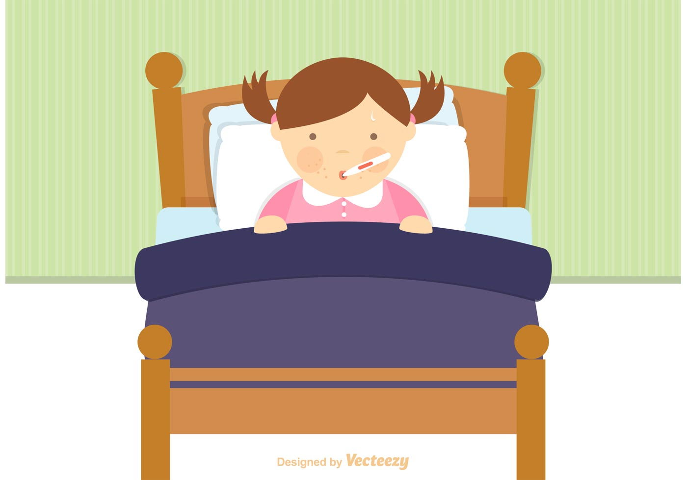 Free sick child in bed vector download free vector art for Cama animada