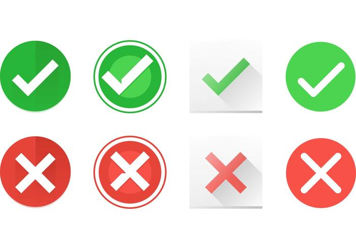Correct and Incorrect Symbol Vector Icons