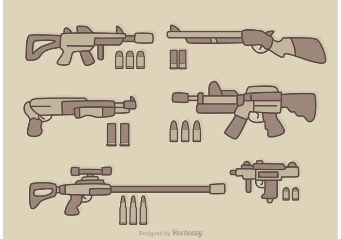 Guns Cartoon Vector
