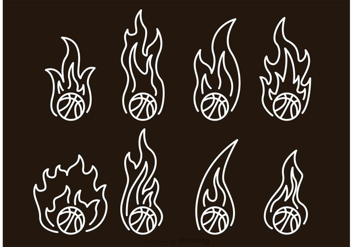 Basketball On Fire Outline Icons