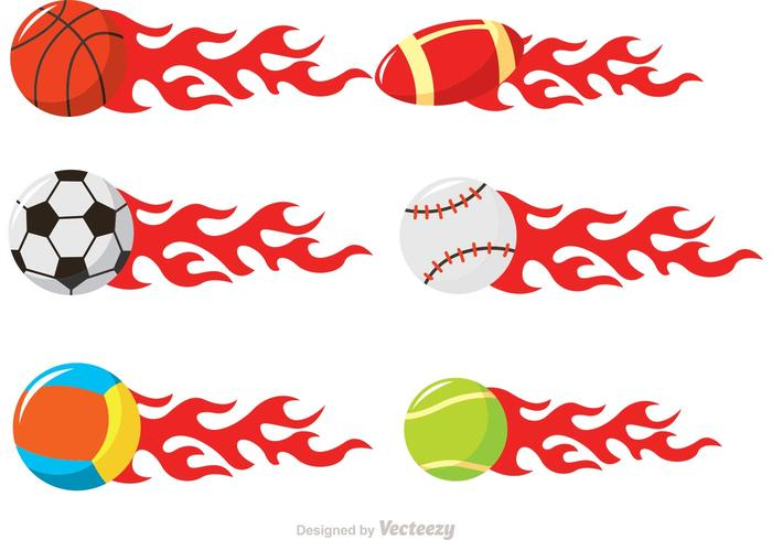 Sport Balls On Fire Vectors
