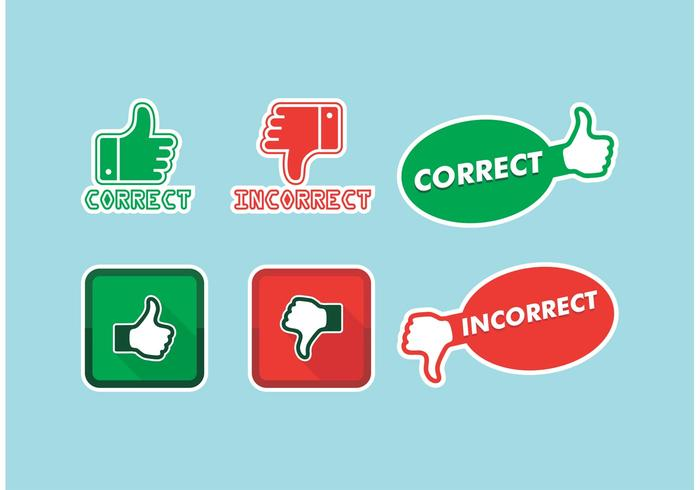 Correct Incorrect Icons Vector Free