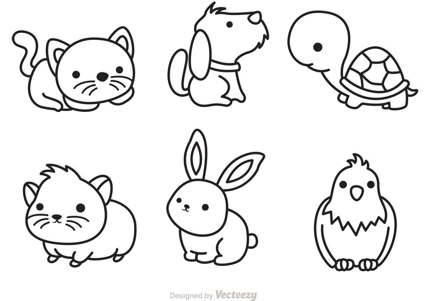 Cute Pets Outline Vector - Download Free Vector Art, Stock ...