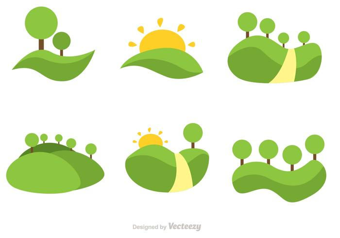 Vector Rolling Hills Flat Icons