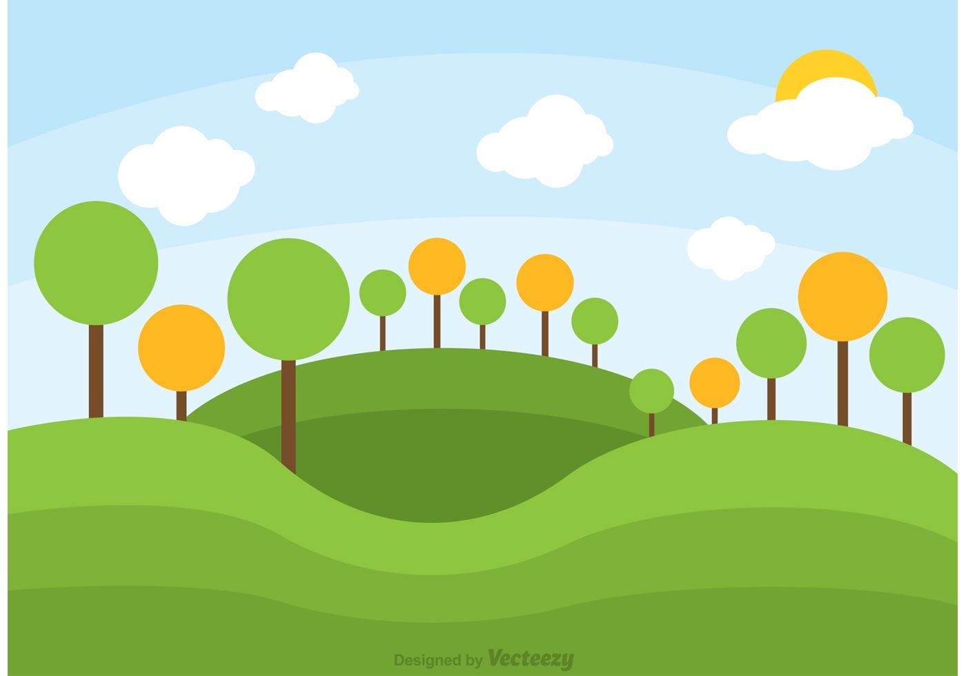 Landscape Illustration Vector Free: Rolling Hills Landscape Vector