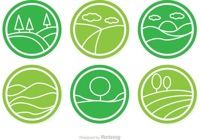 Circular Vector Rolling Hills Icons