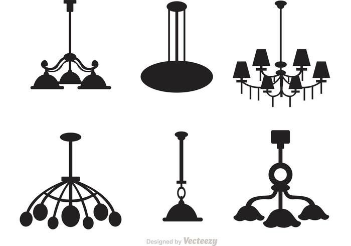 Chandelier Silhouette Vector Set