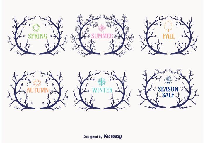Seasonal Wreaths Branch Vectors