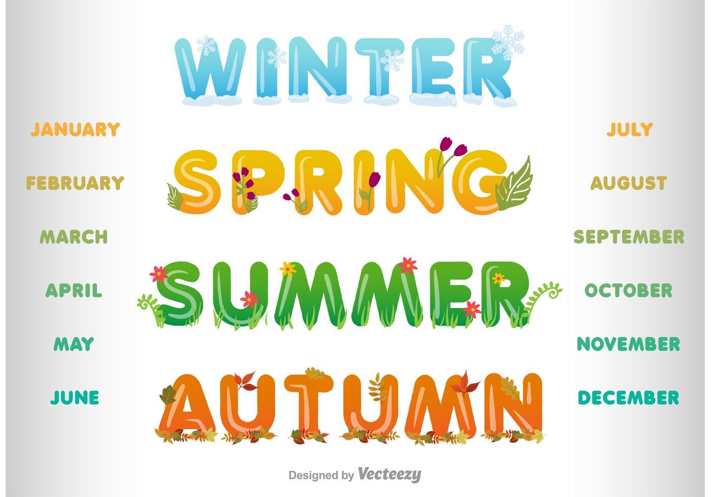 Vector Winter, Spring, Summer and Autumn Headlines ...