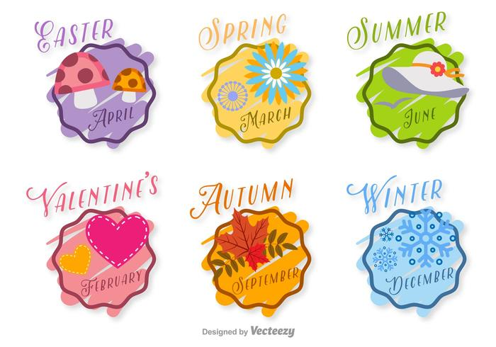 Badges vectoriels saisonniers dessinés à la main