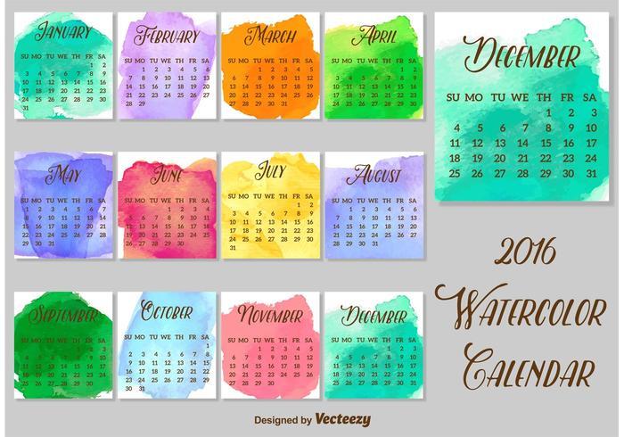 2016 Watercolored Calendar Vector Template Download Free
