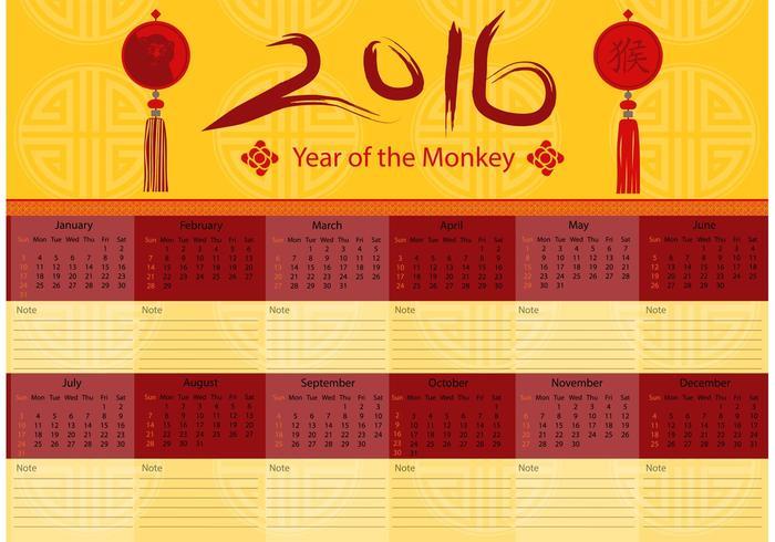 Kinesisk 2016 Kalendervektor vektor