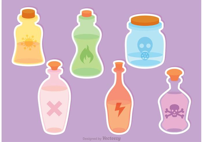 Toxic Potion Bottles Vector
