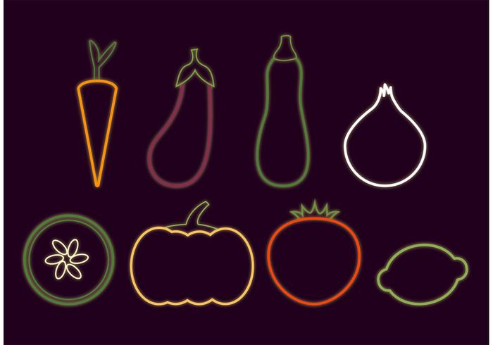 Neon Glowing Veggie Vectors