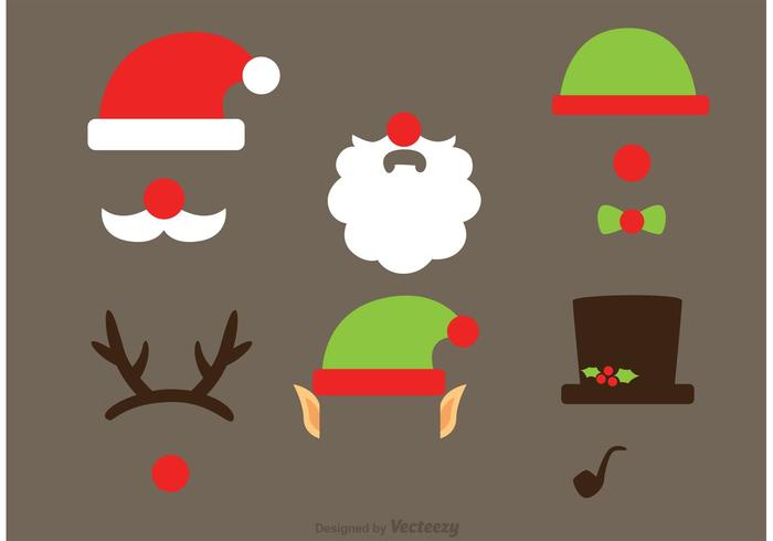 Cristmas photobooth vector prop set